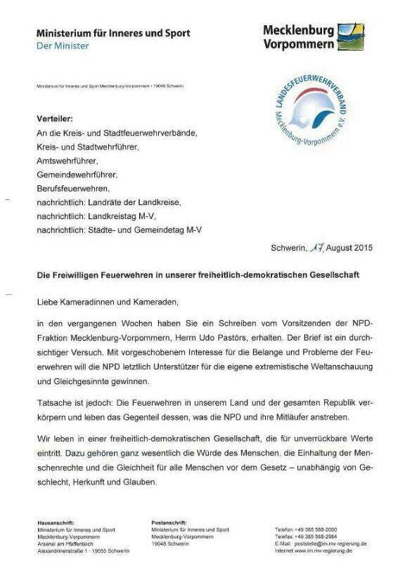 Npd Landesverband Von Mecklenburg Vorpommern Innenminister Caffier